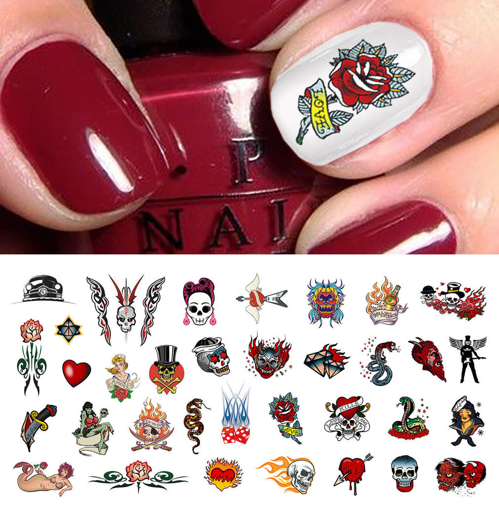 Rockabilly Tattoo Skull Nail Art Decals Assortment 1 5 12 X 3