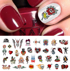 "Rockabilly Tattoo Skull Nail Art Decals Assortment #1  -  5 1/2"" x 3"" sheet)"