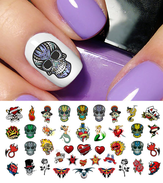"Rockabilly Tattoo Skull Nail Art Decals Assortment #2  -  5 1/2"" x 3"" sheet)"