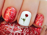 Rose and Stem Nail Decals -