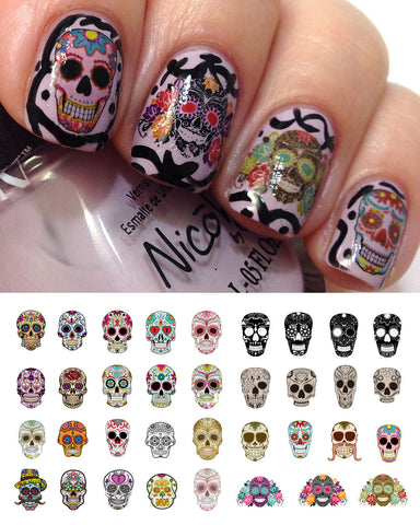 Sugar Skull Nail Decals Assortment Set #1