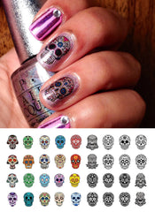 Sugar Skull Nail Art Decals Set #4