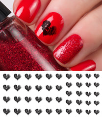 Shadow Heart Nail Art Decals