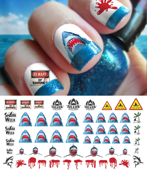 Great White Shark Nail Art Decals Set #2