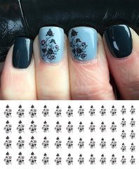 Skull Rose Bush Nail Art Decals