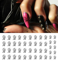 Skull Smoking Cigar Nail Art Decals
