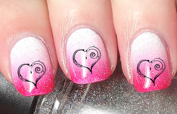 Spiral Heart Nail Art Decals
