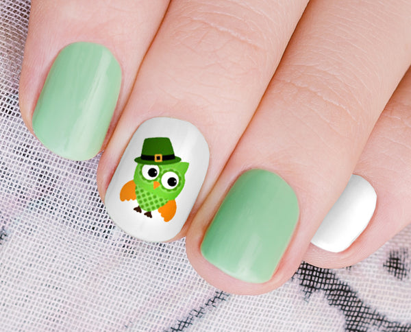 St. Patrick's Day Owls Nail Art Decals Set #4