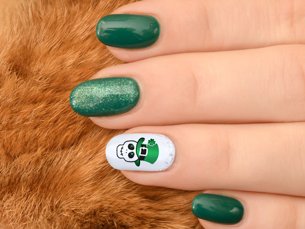 St. Patrick's Day Skulls Nail Decals Set #3