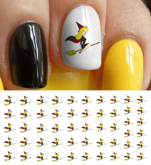 Pretty Witch on Broom Nail Art Decals