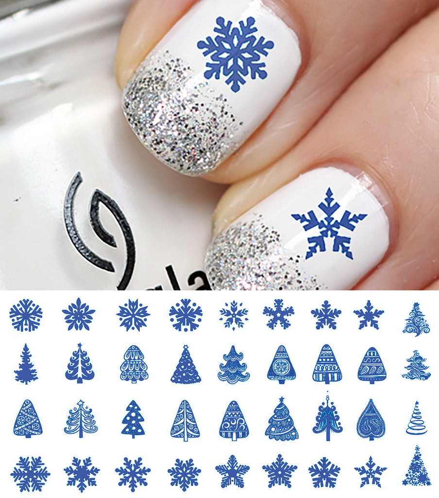 blue christmas nail art decals set 3