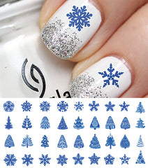Blue Christmas Nail Decals Set #3
