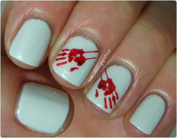 Bloody Hand Print Waterslide nail decals (Photo by Nail Call)