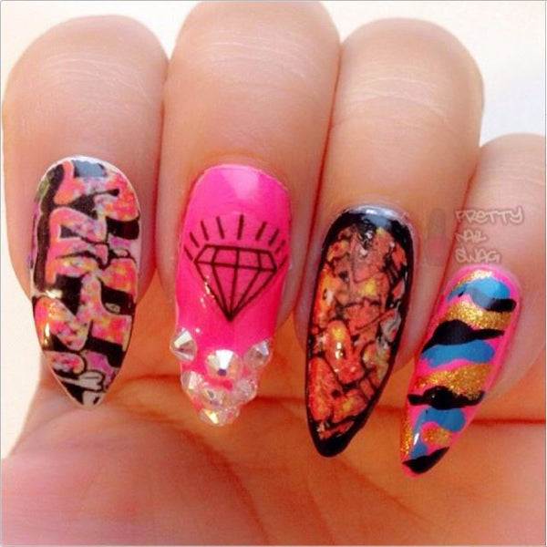 Diamond Waterslide Nail Decals (Photo Courtesy of Pretty Nail Swag)