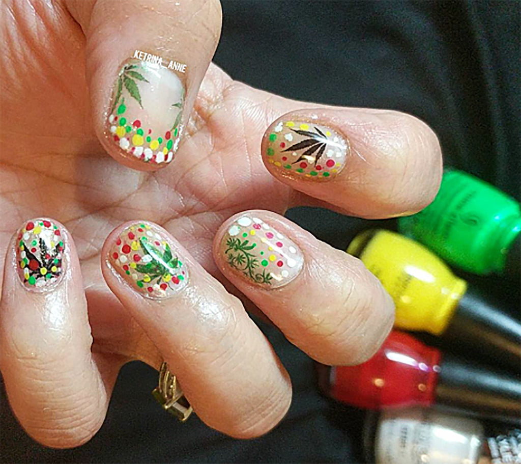 Marijuana Pot Leaf Nail Art Decals Set #2 – Moon Sugar Decals