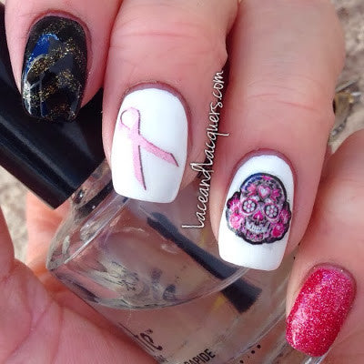 Sugar Skull Pink Flowers Nail Decals (photo courtesy of Lace & Lacquers)