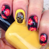 Red Sugar Skull Waterslide Nail Decal (photo courtesy of Lace and Lacquers)
