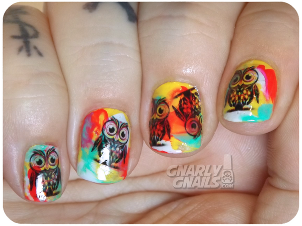 Owl Nail Decals (Image courtesy of Gnarly Gnails)
