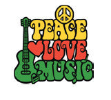 Peace Love Music waterslide nail decal