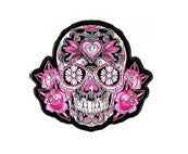 Sugar Skull Pink Flowers waterslide nail decal