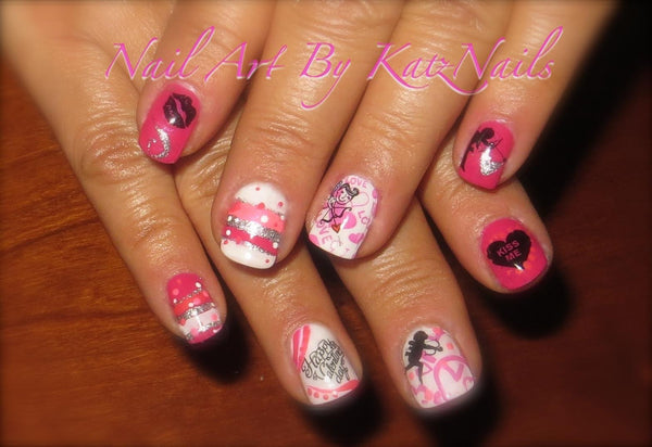Valentine's Day Water Slide Nail Decals (KatzNails)