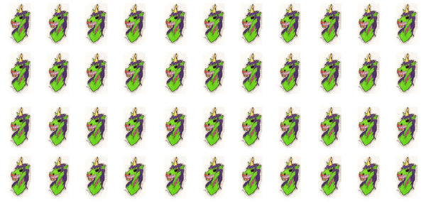 Zombie Unicorn waterslide nail decals