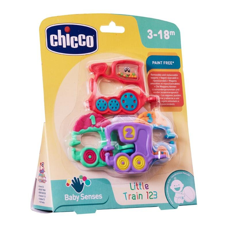 Chicco Baby Senses Rattle Train 123Multi primary colours - Babanino