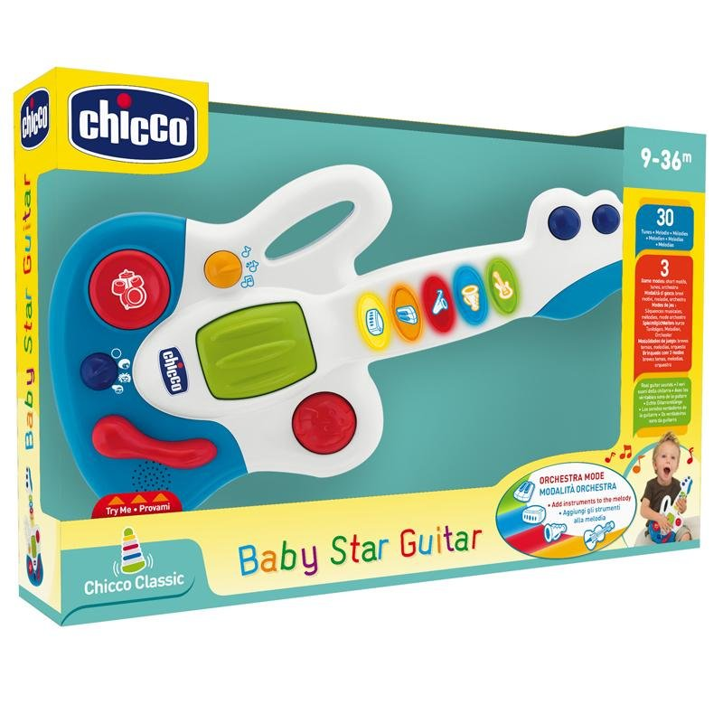 Chicco Happy Music Baby Star Guitar - White & Blue with additional primary colours - Babanino
