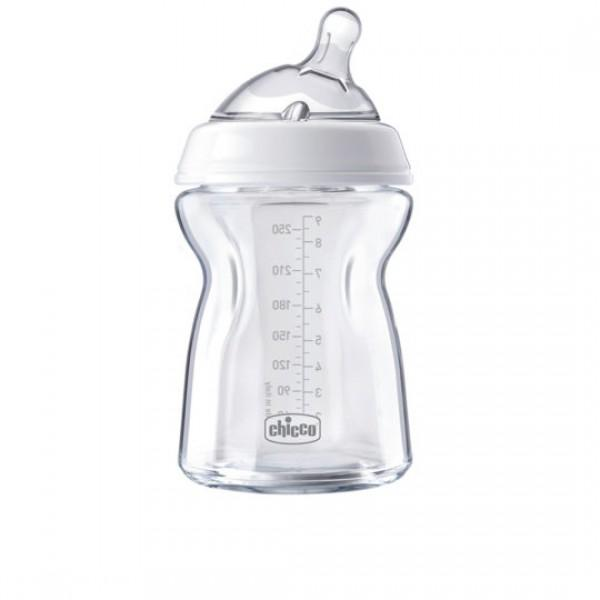 Chicco Natural Feeling Glass Bottle – 2 Months – 250ml - Clear - Babanino