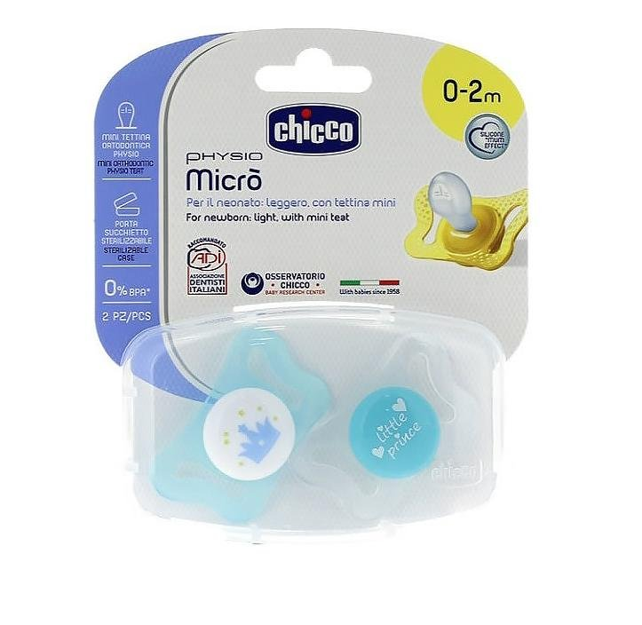 Chicco Soother Physio Micro Silicone: 0-2 months (2pc) - Babanino