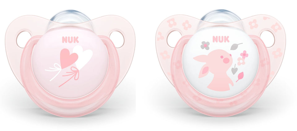 NUK SILICONE TRENDLINE BABY ROSE SOOTHER WITH BOX - HEART/RABBIT 0-6M - Babanino