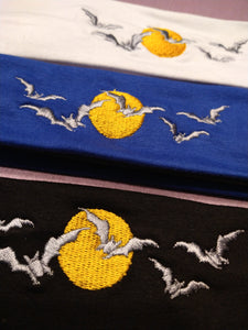 Embroidered Bats with Full moon Headband
