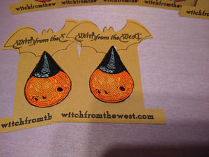 Embroider Pumpkin Witch Iron- on Patch