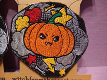 Load image into Gallery viewer, Large Embroider Kawaii Pumpkin iron on patch