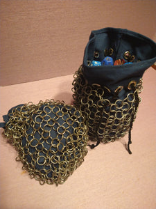 Chain mail Dice bag with Duck Canvas Lining
