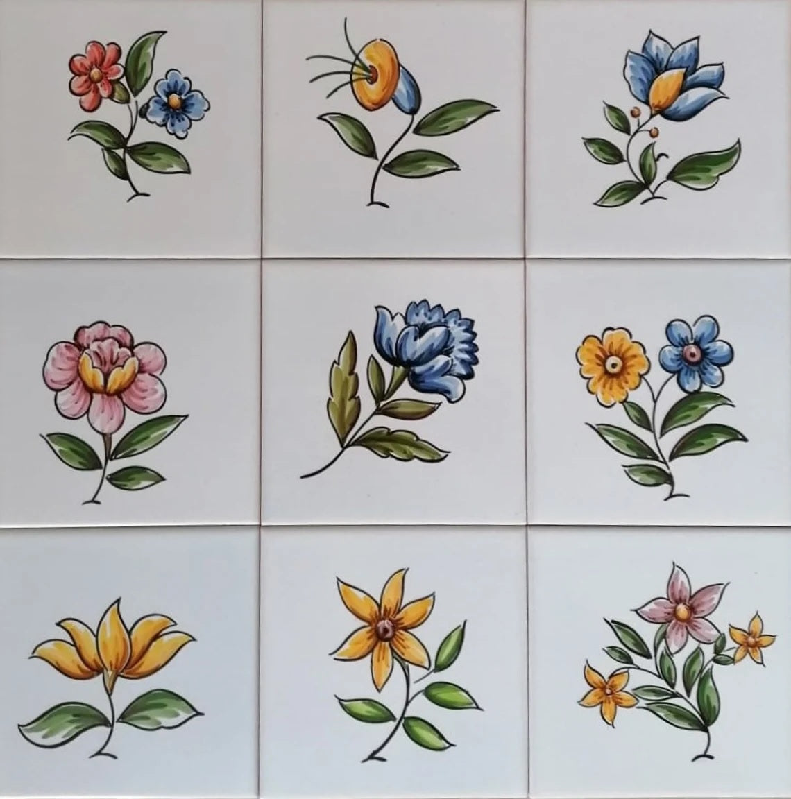 Decorative Tiles with Colourful Flowers | Portuguese Tiles