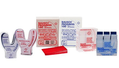 BAUSCH 100 MICRON HORSESHOE SHAPED PAPER (RED/BLUE)