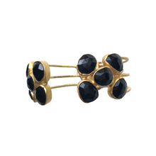 Load image into Gallery viewer, ElleGemz Black Onyx  Multi Stoned Hinged Cuff Bracelet