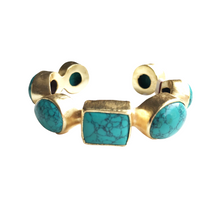 Load image into Gallery viewer, ElleGemz Turquoise Multi Stone Cuff Bracelet