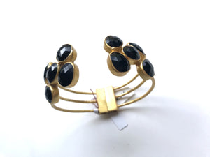 ElleGemz Black Onyx  Multi Stoned Hinged Cuff Bracelet