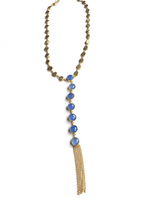 ElleGemz Blue Chalcedony Y Necklace