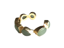 Load image into Gallery viewer, ElleGemz Multi Stone Lime Chalcedony Cuff Bracelet