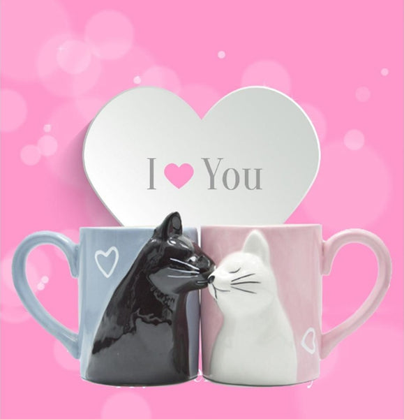 Luxury Cat Couple Ceramic Mugs