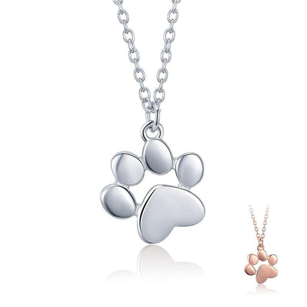 Silver & Gold Cute Cat Paw Pendant Necklaces