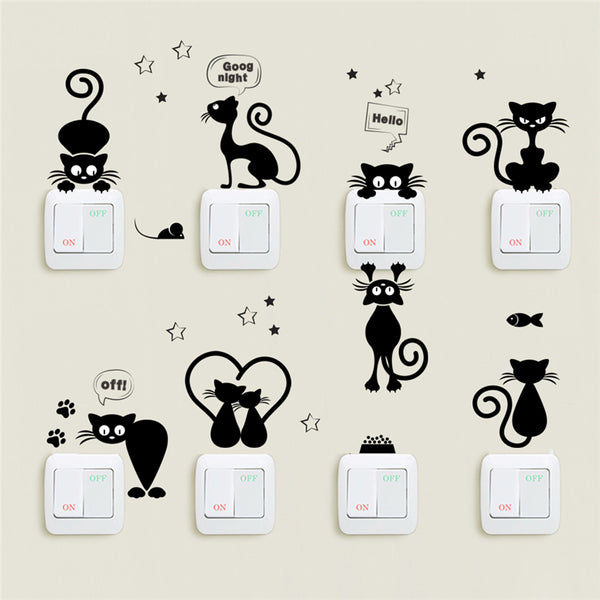 Cat Light Switch Wall Stickers
