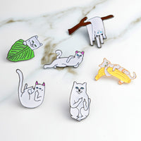 Funny Middle Finger Cat Enamel Pins