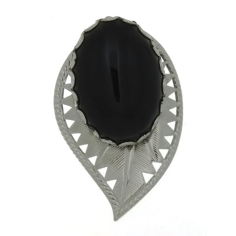 SLIDE GEMSTONE BLACK ONYX LEAF 18 X 25 MM BOLA
