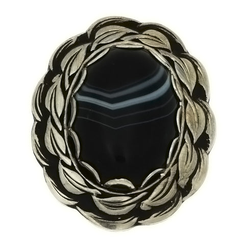 SLIDE GEMSTONE BLACK LINE AGATE NEST 18 X 25 MM BOLO