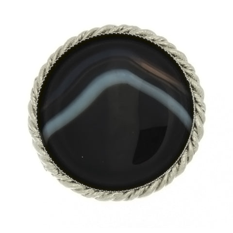 SLIDE GEMSTONE BLACK LINE AGATE COIN 40 MM  BOLA