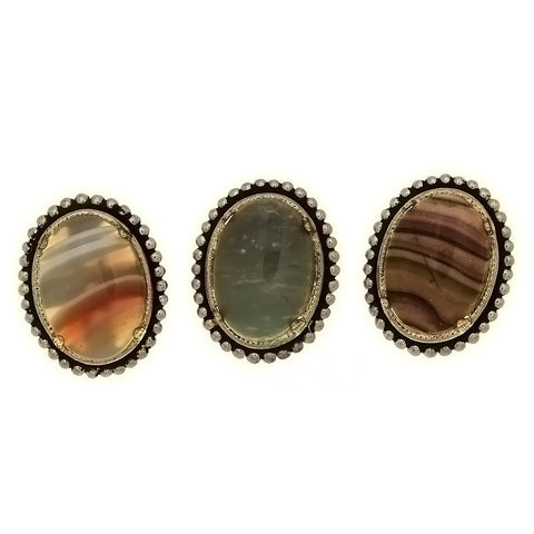 SLIDE GEMSTONE FRAMED BEAD 18 X 25 MM BOLO